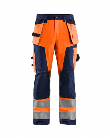 "CLEARANCE Blaklader 1568 High Visibility Craftsman Trousers (Orange/Navy Blue) D92 34S 34""W 29""L"